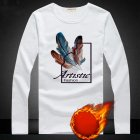Long Sleeves and Round Neck Top Male Loose Sweater Pullover with Unique Pattern Decor Plus white feather_XL