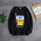 Long Sleeves and Round Neck Top Male Loose Sweater Pullover with Unique Pattern Decor 719 black_M