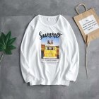 Long Sleeves and Round Neck Top Male Loose Sweater Pullover with Unique Pattern Decor 719 white_M