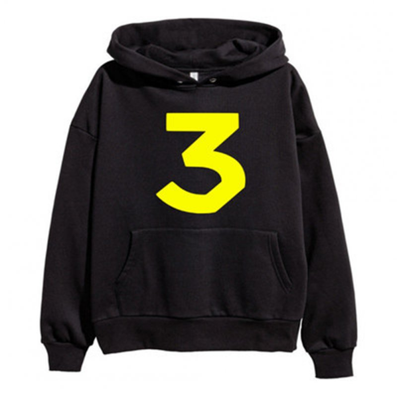 Loose Hoodie with Letters and Number Decor Long Sleeves Pullover Top for Man and Woman B black_XL