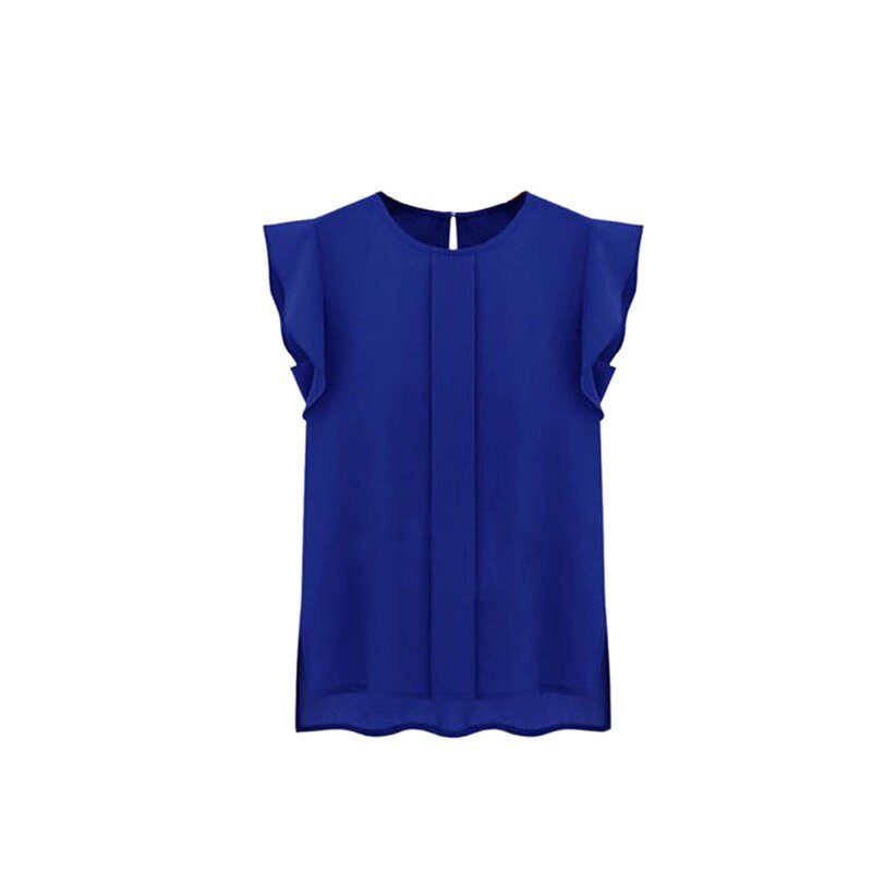 Loose Women Chiffon Shirt Round Collar Short Ruffle Sleeve Casual Blouse  Tops 3 Colors Blouses