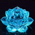 Lotus Candlestick 6 Petals Crystal Glass Ghee Lamp Windproof Candle Holder Diwali Festival Decor blue
