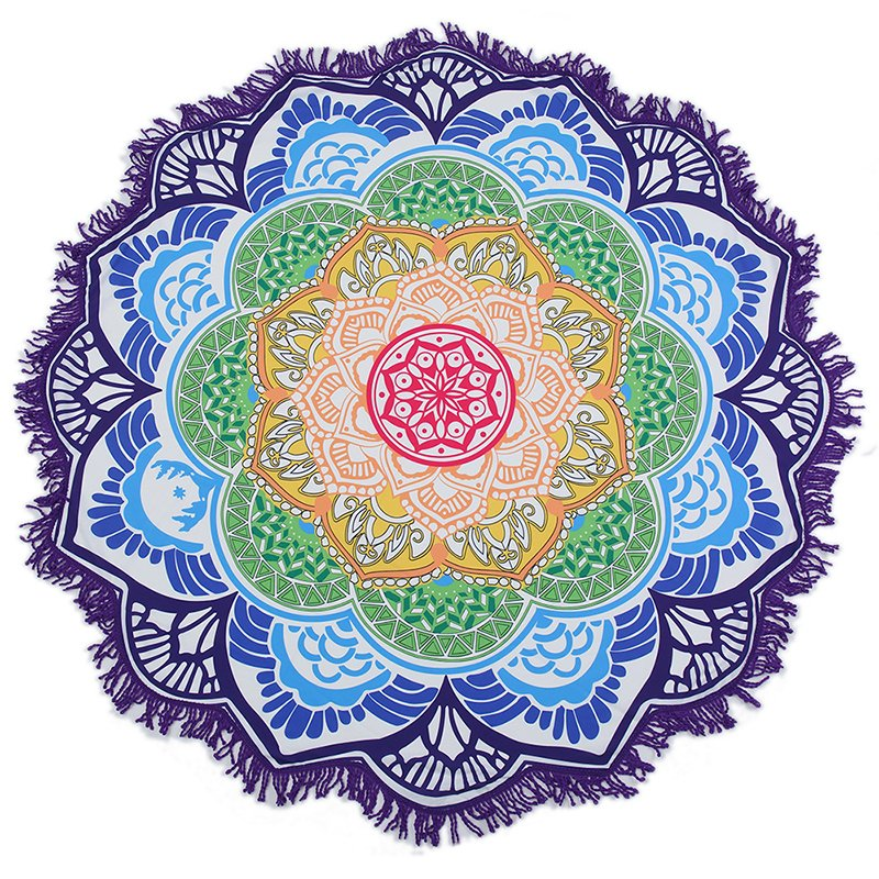 Lotus Flower Mandala Beach Towel Blanket Round Tassel Bohemian Wall Tapestry Table Cover Yoga Mat 147*147