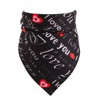 Love Heart Pattern Pet Cat Dog Saliva Towel Triangular Bandage for Valentine's Day black