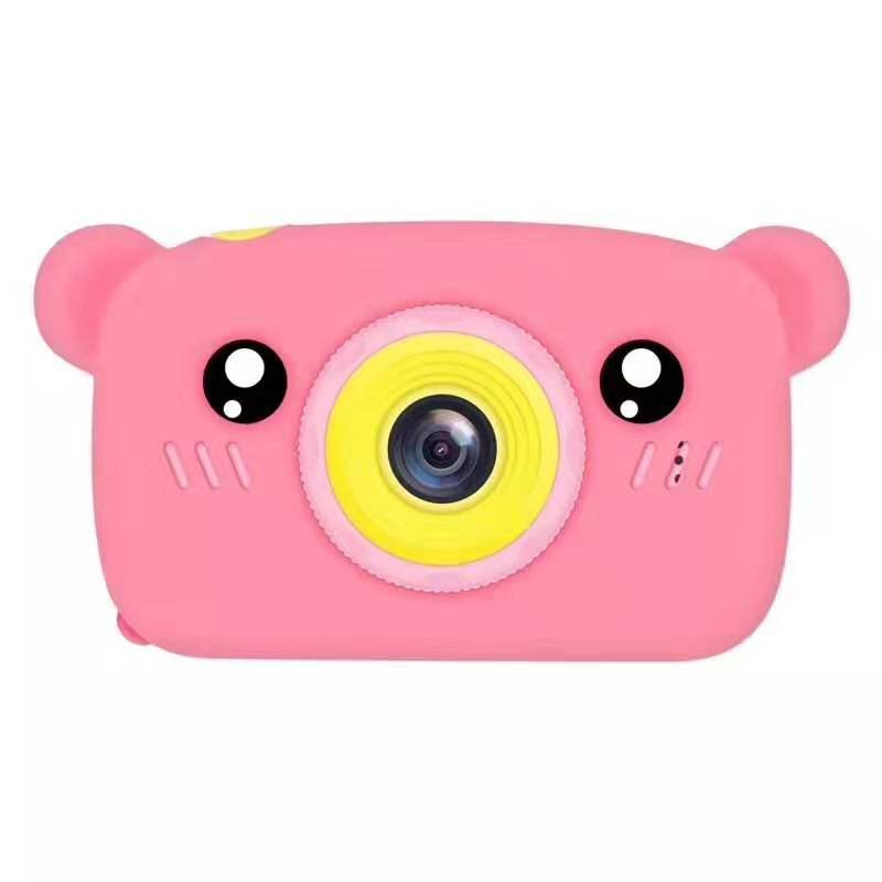 Lovely Auto Focus Digital Camera Cartoon High Definition Mini Sports Camera Toy Gift for Kids Pink_Without memory card