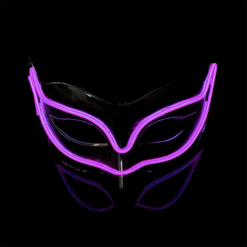 Lovely LED Neon Half Eyes mask for Halloween and Christmas Ball Party Birthday Mask purple
