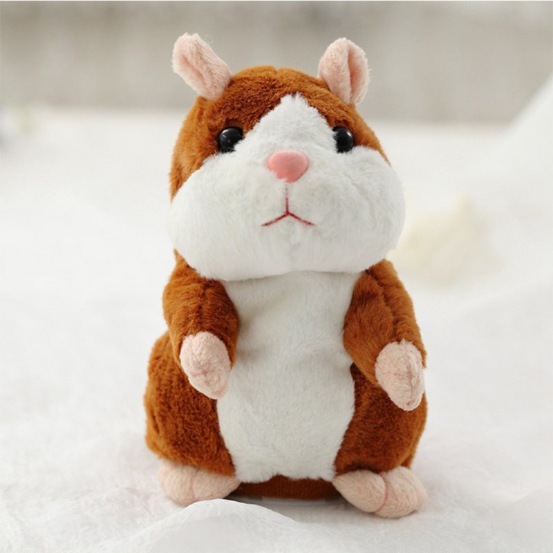 Talking Plush Hamster Toy - Bright Brown 18cm