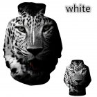Lovers 3D Black White Leopard Printing Autumn Winter Hooded Sweatshirts for Men Women Black and white leopard XL