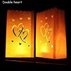 Luminary Paper Lantern Candle Bag Flame Retardant Paper Bag for Party Double Heart 10pcs/set