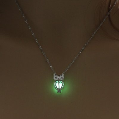 Luminous Alloy Open Cage Mermaid Skull Head Necklace DIY Pendant Halloween Glowing Jewelry Gift NY035-Owl