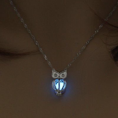 Luminous Alloy Open Cage Mermaid Skull Head Necklace DIY Pendant Halloween Glowing Jewelry Gift NY034-Owl