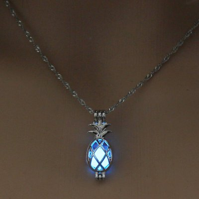 Luminous Alloy Open Cage Mermaid Skull Head Necklace DIY Pendant Halloween Glowing Jewelry Gift NY254-Pineapple