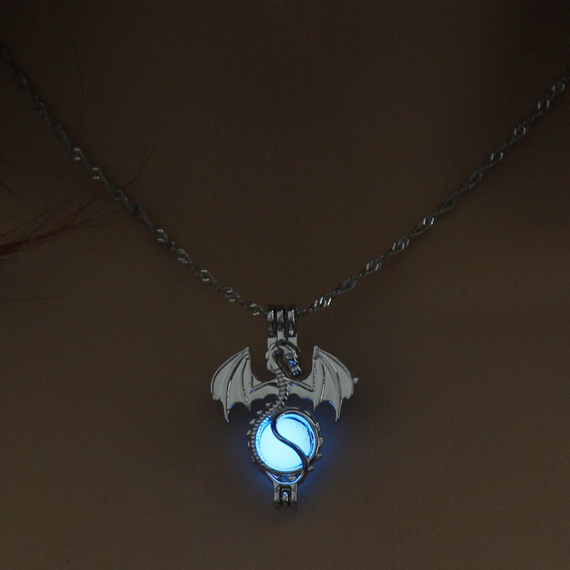 Luminous Alloy Open Cage Mermaid Skull Head Necklace DIY Pendant Halloween Glowing Jewelry Gift NY245-Dragon