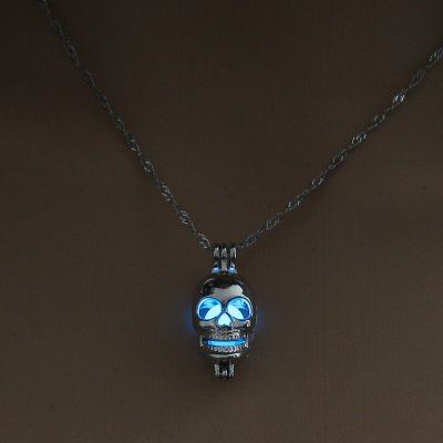 Luminous Alloy Open Cage Mermaid Skull Head Necklace DIY Pendant Halloween Glowing Jewelry Gift NY227-skull head