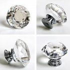 Luxurious Diamond Shape Crystal Ball Door Knobs Zinc Alloy Pull Handle for Cabinet Drawer Wardrobe Cupboard Kitchen Door 40mm