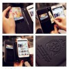 Luxury Rose Bling Pearl Flower Flip Leather Wallet Card Holder Purse Case Cover Black for iphone 5 and 5S