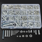 M3 M4 M5 M6 Steel + Shaped Round Head Screws Nuts Flat Washers Assortment Kit 900g 900G suit