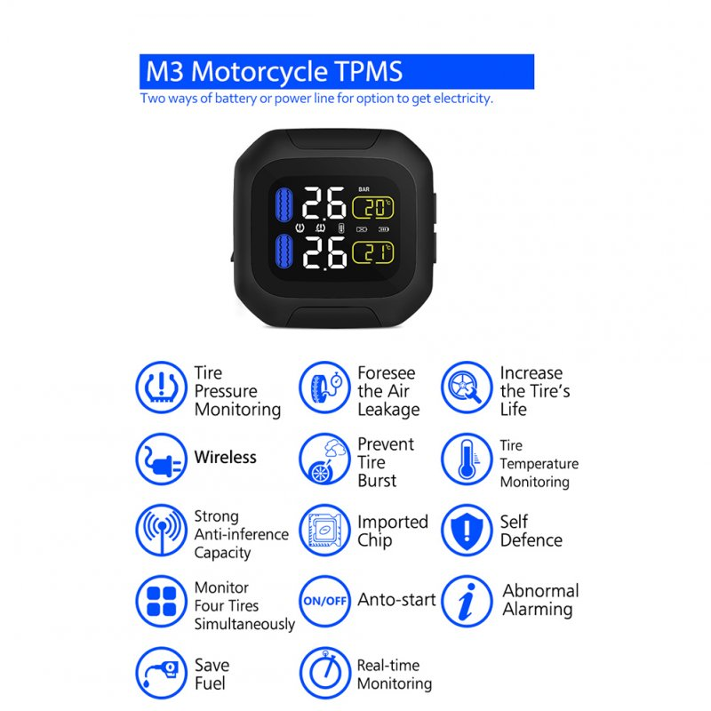 M3 Motorcycle TPMS Tire Pressure Monitoring System 2 External Sensor Wireless LCD Display Moto Auto Tyre Alarm Systems  Silver_M3-WF