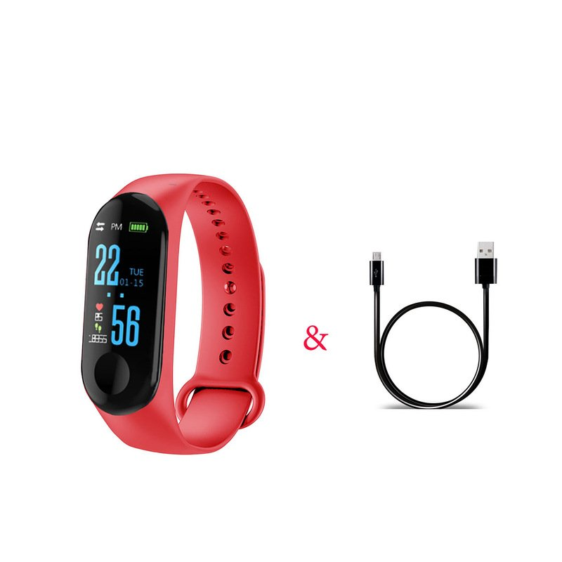 M3 Pro Smart Watch Sport Band Blood Pressure Sleep Monitor Drinking Remind Wristband Bracelet red