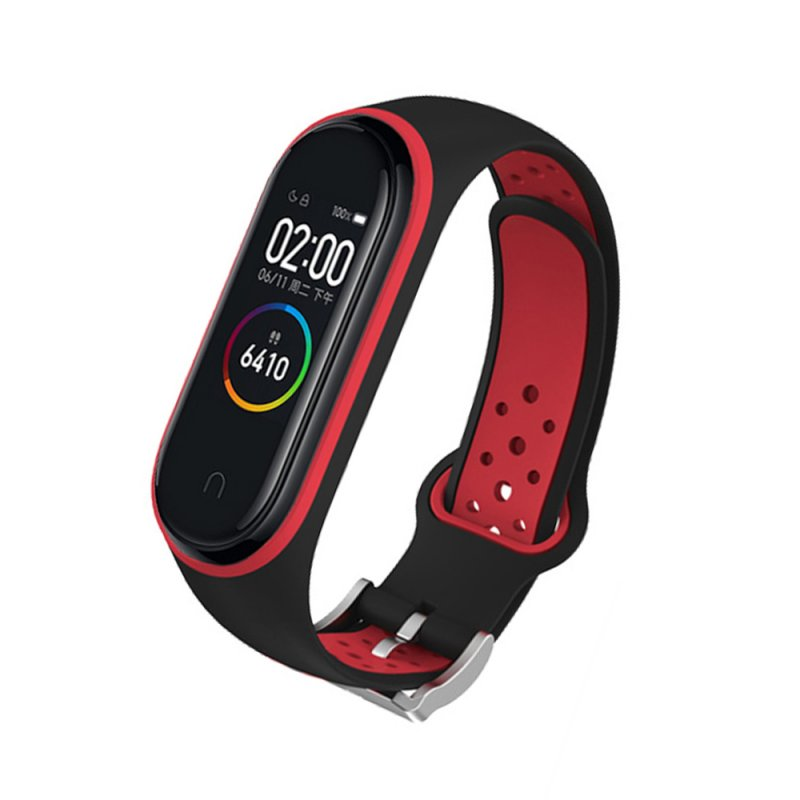 M4 Plus Color Screen Smart Bracelet Heart Rate Monitor Fitness Activity Tracker Smart Band Blood Pressure Wristwatch Black red