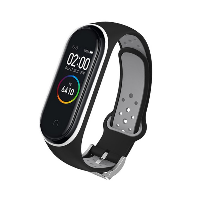 M4 Plus Color Screen Smart Bracelet Heart Rate Monitor Fitness Activity Tracker Smart Band Blood Pressure Wristwatch Black gray