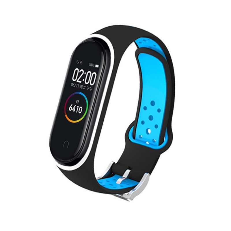 M4 Plus Color Screen Smart Bracelet Heart Rate Monitor Fitness Activity Tracker Smart Band Blood Pressure Wristwatch Black blue