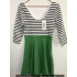 MISSKY Women s 3 4 Sleeve Slim Fit Black White Stripe Casual Cocktail Cute Mini Swing Dress Green 2XL