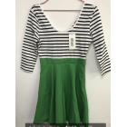 Women's Black White Stripe Casual Mini Dress