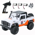 MN 99A 1:12 4WD RC Cars 2.4G Radio Control RC Cars Toys RTR Crawler Off-Road Buggy For Land Rover Vehicle Model Pickup Car white_3 batteries