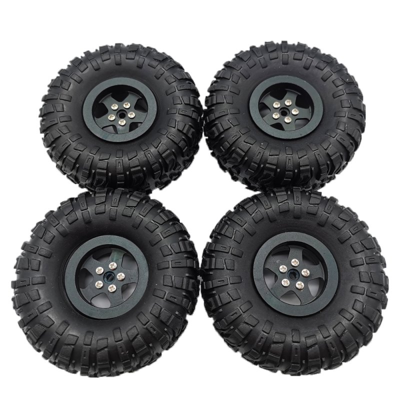 MN Model Metal Beadlock Wheel Rim Rubber Tires Set for MN45 D90 91 96 99 99S 99A 1/12 Rc Car Model Spare Parts DIY  black_4PCS