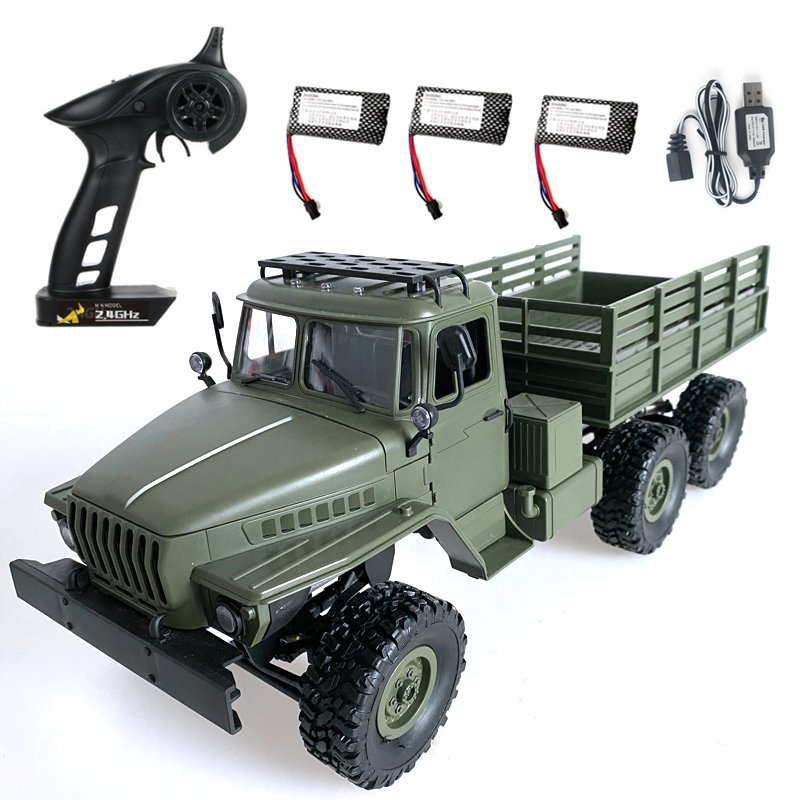 MN80S Ural 1/16 2.4G 6WD RC Car Truck Rock Crawler Command Communication Vehicle RTR Toy MN88S three electric version_1:16