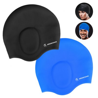MOUNCHAIN Swimming Cap 2 Pack Blue & Black