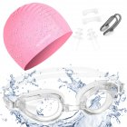MOUNCHAIN Swimming Cap Swimming Goggles  Premium Quality Silicone Swim Cap Anti Fog UV Protective Goggles for Adult Nose Clip Ear Plugs Sets Included