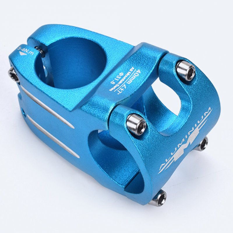 MTB Bike Handlebar Stem Bicycle Stem 31.8*40 MM Aluminum Alloy Bicycle Short Handlebar Stem Riser Fixed Bar Cycling Accessories 31.8*40mm handlebar - blue