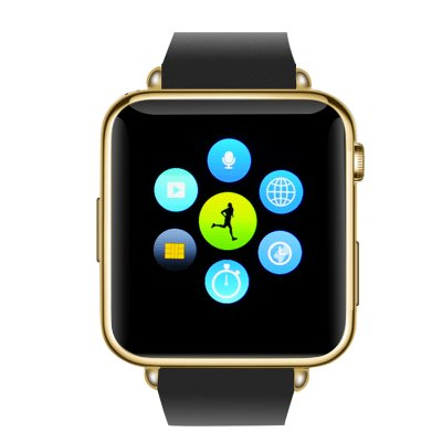Bluetooth Mobile Phone Watch  (Gold)