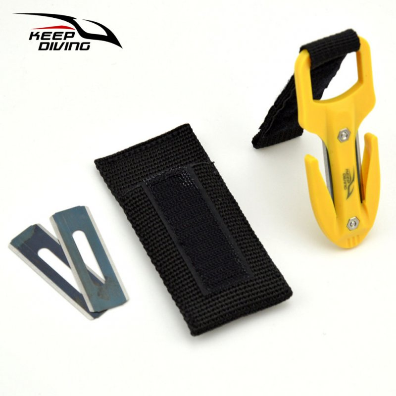 Portable Diving Cutting Cutter Diving Snorkeling Safety Secant Cutting Cutter Hand Line Cutter Diving Equipment yellow_One size