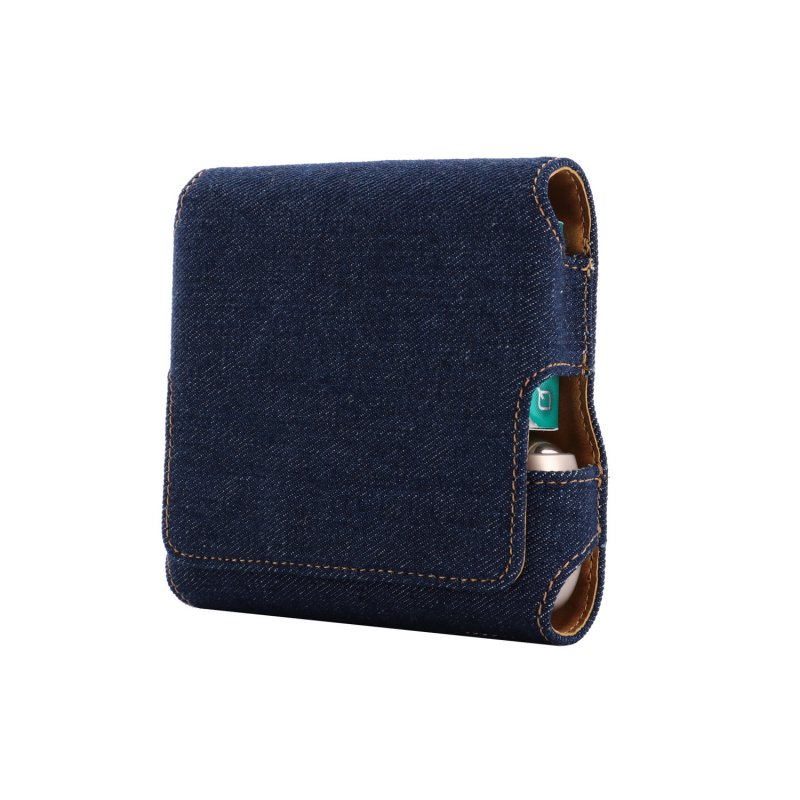 Magnetic Cover Compact Storage Box PU Leather Case for IQOS3.0 Electronic Cigarette with Card Slot Full Protection Shell Pocket  Denim dark blue