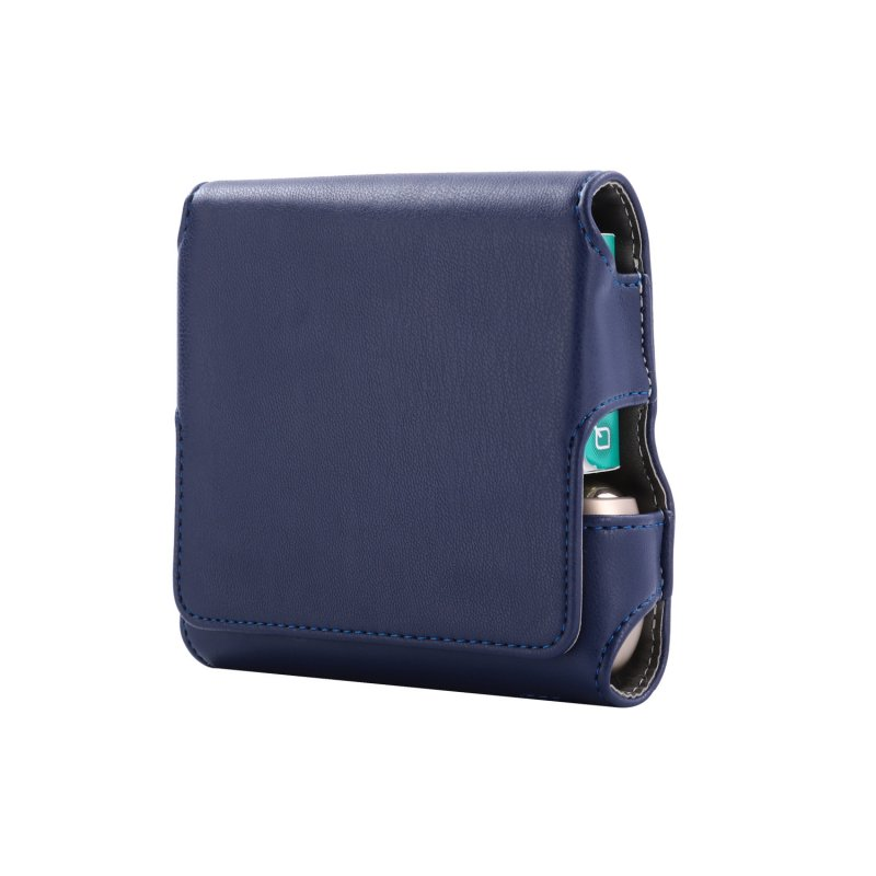 Magnetic Cover Compact Storage Box PU Leather Case for IQOS3.0 Electronic Cigarette with Card Slot Full Protection Shell Pocket  blue