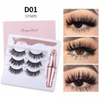 Magnetic Eyelash + Liquid Eyeliner set Magnetic False Eyelashes Tweezer Set Eyelash Extension Tools D01
