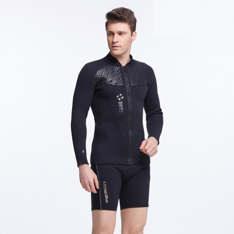 Male 3MM Neoprene Diving Suit SCR Thicken Coldproof Long Sleeve Top Front Zipper Swimwear black_XXL