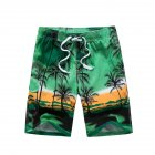 Male Beach Shorts Elastic Waist Pants with Coconut Tree Printed Leisure Vacation Wear green_5XL