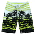 Male Beach Shorts Quick Dry Pants with Strips and Coconut Tree Printed Vacation Wear yellow_XXXL