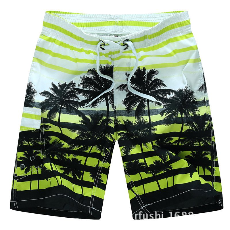 Male Beach Shorts Quick Dry Pants with Strips and Coconut Tree Printed Vacation Wear yellow_4XL