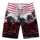 Male Beach Shorts Quick Dry Pants with Strips and Coconut Tree Printed Vacation Wear red_L