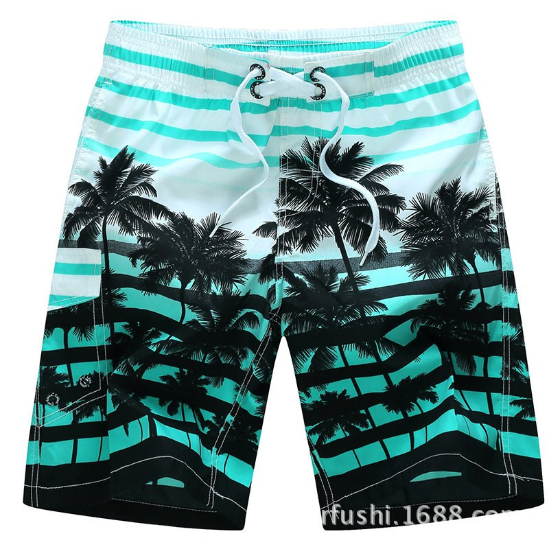Male Beach Shorts Quick Dry Pants with Strips and Coconut Tree Printed Vacation Wear blue_L