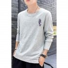 Male Casual Shirt of Long Sleeves and Round Neck Slim Top Pullover with Cartoon Pattern Decorated gray_XL