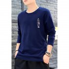 Male Casual Shirt of Long Sleeves and Round Neck Slim Top Pullover with Cartoon Pattern Decorated blue_L