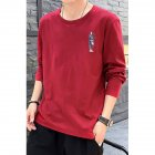 Male Casual Shirt of Long Sleeves and Round Neck Slim Top Pullover with Cartoon Pattern Decorated red_L