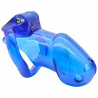 Male Chastity Cage with 2 Brass Locks Adjustable Silicone Cock Cage with 4 Rings for Male Penis Exercise  blue