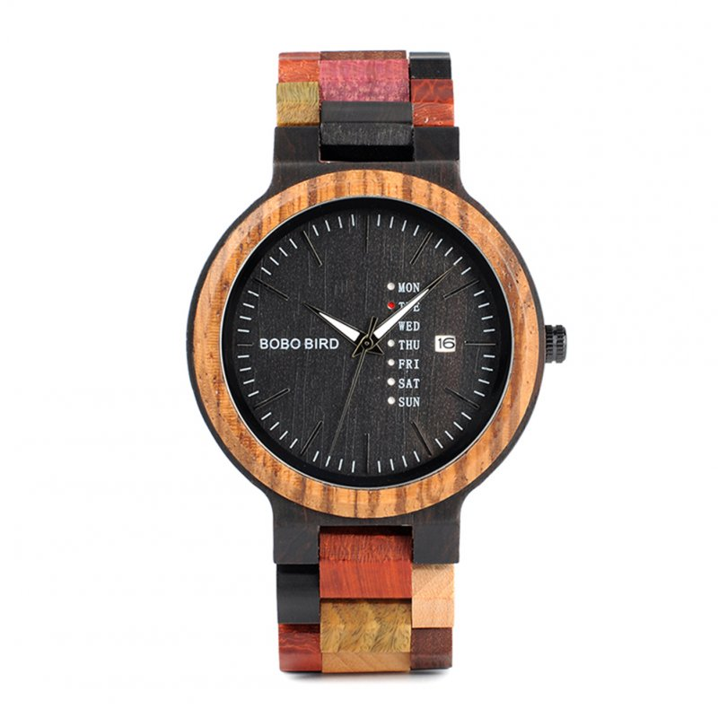 Male Colourful Wooden Quartz Watch